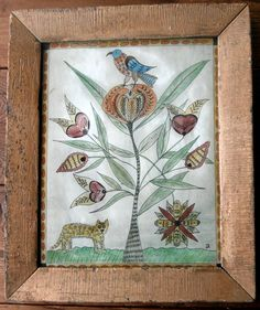 Fraktur of a Parrot and Wild Cat by primitivehand on Etsy, $128.00