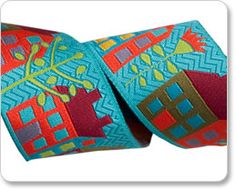 Woven ribbon -Houses on Turquoise-- Designed by contemporary  Folk Art designer Sue Spargo, specially  for Renaissance Ribbons