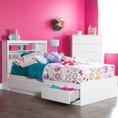 """South Shore Vito Twin Mates Bed (39"""") with 3 Drawers, Pure White"""