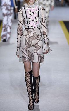 Silk Organza Ruffle Macramé Panel Dress by Giambattista Valli Now Available on Moda Operandi