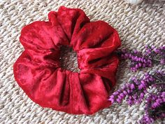 Red Velvet Hair Scrunchie For Girls and Ladies Useful  by MINZZEE, $3.50