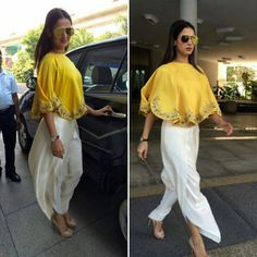 Sonal Chauhan in designer outfit by gorgeous yellow cape and dhoti pants. Indian Wedding Guest Dress, Indian Wedding Outfits, Indian Outfits, Wedding Dress, Indian Attire, Indian Wear, Indian Style, Boho, Dress Outfits