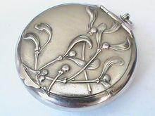 French Antique Art Nouveau Silver 800-900 Compact Box