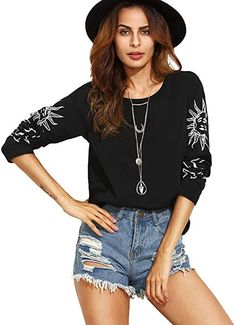 7c810db9 Black New Printing Round Neck Long Sleeve Tops Autumn Tees Female Loose  Casual Wear T-shirt
