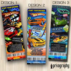 Hot Wheels Race Cars Ticket Birthday Party Invitations