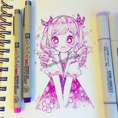 I like using pink lately (´Д`) - - - -#micronpen #cansonpaper #copicmarkers
