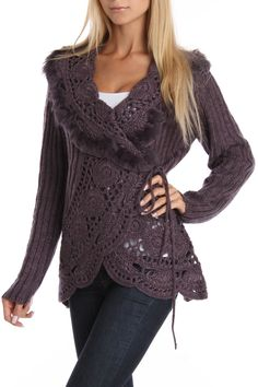 Shawl Collar Wrap Sweater- this is so pretty but I could do without the furry trim.