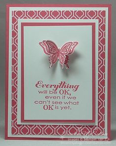 I am loving Strawberry Slush! This card pairs the Strawberry Slush ink, card stock and Quatrefancy paper with a Best of Butterflies stamped image layered and 3D to pop-up with the Elegant Butterfly punch.