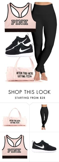 gym outfit. by xxsaraxtaraxx ❤ liked on Polyvore featuring Lyssé Leggings, Victorias Secret and NIKE
