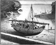 Scheepje in de haven van Kupang op Timor. Mei 1918. Dutch East Indies, Sailing Ships, Exotic, Van, History, Historia, Vans, Sailboat, Tall Ships