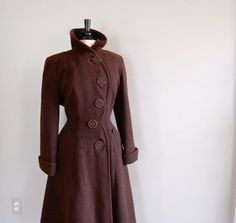 vintage 1940s Fitted PRINCESS Wool Coat by DearGolden on Etsy