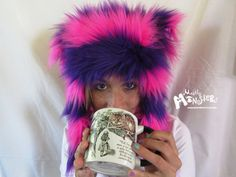 Fuzzy Monster Aviator hat CHESHIRE Pink & by Mostlymonsterscv  - I have one of these and I love it!