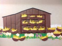 Chicken nest and chicken coop craft for farm bulletin board.