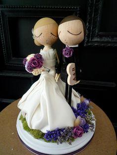 Pastel de boda Topper con vestido de novia