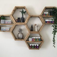 Large Set of Six Hexagon Shelves on Wall Beehive Bee Honeycomb Shelf Decor Wood Home Essential Oil Natural Wooden Crystal Storage Display Hexagon Wall Shelf, Honeycomb Shelves, Bee Honeycomb, Plant Shelves, Wall Shelves, Ladder Shelf Diy, Deep Shelves, Diy Wall Decor, Wall Decorations