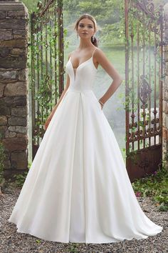 Wedding Dresses, Bridesmaid Dresses, Prom Dresses and Bridal Dresses Mori Lee Wedding Dresses - Style 5706 Pacifica - Mori Lee Wedding Dresses, Spring Peau de Soie, Box-Pleated Ballgown with Pockets and Sheer Net Back Detail and Neckline Inset. Black Wedding Dresses, Princess Wedding Dresses, Bridal Wedding Dresses, Wedding Dress Styles, Designer Wedding Dresses, Lily Wedding, Casual Wedding, Lace Dresses, Blue Wedding