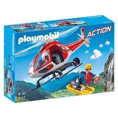 PLAYMOBIL Reddingswerkers met helikopter 9127