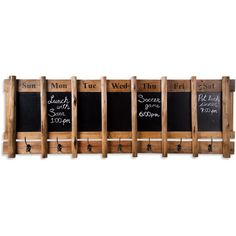 Hang this chalkboard wall rack in the entryway to keep track of the whole family's schedule while you organize soccer gear, outdoor accessories, or coats on ...