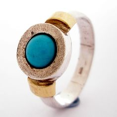 sterling, turquoise & yellow gold