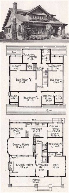 Vintage house plan that can easily be conformed to our modern day life style. I'm in love with the exterior!