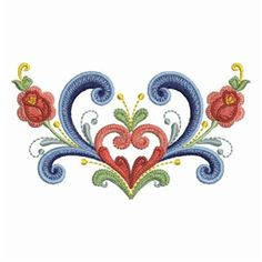 Ace Points Embroidery Design: Rosemaling Roses 2.78 inches H x 4.88 inches W