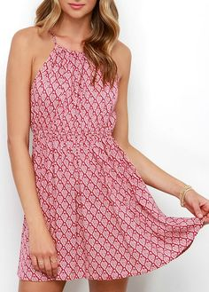 An ivory Damask print graces woven, rosy red fabric as it shapes an adjustable drawstring neckline (that ties above a keyhole at back). Loose, sleeveless bodice has an elastic waist above the flowy and feminine full skirt. Cute Dresses, Casual Dresses, Cute Outfits, Casual Outfits, Spring Dresses, Beautiful Gowns, Playing Dress Up, Flare Dress, Spring Summer Fashion