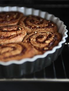 Cinnamon Buns - these are less sweet than your average cinnamon bun. The blogger frosts them with yogurt (which you could do with a non-dairy yogurt) but she suggests coconut or cashew cream as a vegan frosting sub.