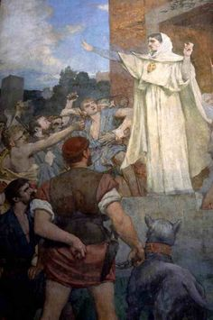 The Athenaeum - St. Genevieve makes confidence and calm to frightened Parisians of the approach of Attila (Pierre Puvis de Chavannes - )