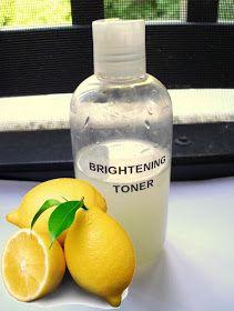 Skin Brightening Toner: 1/2 cup lemon juice, 2/3 cup witch hazel, 1 cup water.