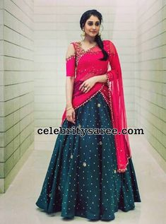 Regina in Trendy Half Saree - Saree Blouse Patterns Lehenga Saree Design, Half Saree Lehenga, Lehnga Dress, Indian Lehenga, Lehenga Designs, Saree Blouse Designs, Sari, Blouse Patterns, Dress Designs