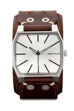 Prism Lth Watches by Rip Curl. Meet the sporty and manly leather watch, thsi rip curl leather watch is super sporty, silver case color, stitched detail, layering detail, water resistant, strap length 24 cm and diameter 4cm.  http://www.zocko.com/z/JFtnx