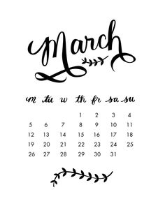I really wanted to make a cute February calendar but simply didn't have the time to this month. March 2012 Calendar, Calendar Ideas, Book Journal, Bullet Journal, Daily Journal, Lettering Design, Hand Lettering, Kalender Design, Free Printable Calendar