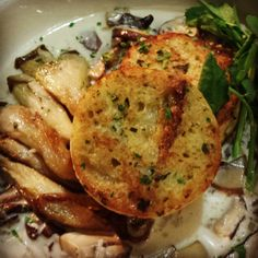 """Bread dumplings with roasted mushrooms @BR Brooklyn"""