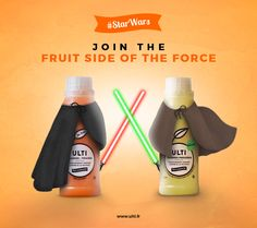Join the Fruit Side of The Force.  Original advertising by me, with Ghost Agency, for Ulti - a fruit juice brand.   www.ulti.fr www.ghost.paris #ad #advertising #starwars #starwars7 #juice #brand #photoshop #graphism #art #web #illustration