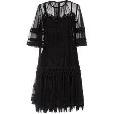 Dolce & Gabbana Short Dress ($3,110) ❤ liked on Polyvore featuring dresses, black, flare mini dress, long-sleeve mini dress, long sleeve fringe dress, embroidered dress and long sleeve dresses