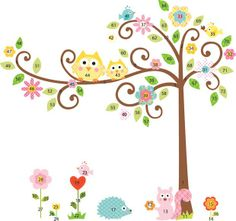 Large Scroll Tree & Owls Wall Decal Sticker Vinyl Kids Wallpaper Mural for Nursery