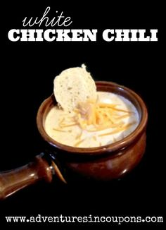 Thick & Creamy White Chicken Chili Recipe - Hungry? This white chicken chili recipe is the perfect solution! Warm, comforting and filling! All in a budget and freezer friendly soup!