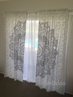 Super funky mandala curtains will brighten up any room in your home, these curtains have a rod pocket sewn into the top and simply slides onto most. Mandala Curtains, Tapestry Curtains, Diy Curtains, Mandala Tapestry, Wall Tapestries, My New Room, My Room, Reiki Room, Meditation Rooms