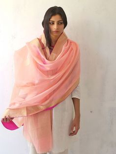 Pale Pink Chanderi & Zari Marigold Dupatta by Raw Mango - Buy Accessories > Dupattas > Pale Pink Chanderi & Zari Marigold Dupatta by Raw Mango Indian Attire, Indian Wear, Indian Style, Indian Ethnic, Indian Dresses, Indian Outfits, Indian Clothes, Women's Dresses, Raw Mango Sarees
