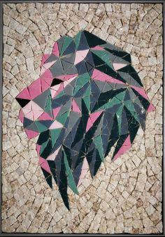 Pierre naturelle, pâte de verre Mosaic Art, Lion, Drinkware, Leo, Lions, Mosaics
