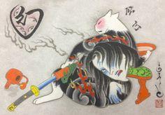 Monmon Ghost Cat Print