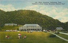 Gatlinburg Tennessee TN 1950 Hotel Greystone Horseback Riders Vintage Postcard Gatlinburg Tennessee TN 1950 Hotel Greystone and horseback riders at entrance to Great Smoky Mountains National Park. Unu