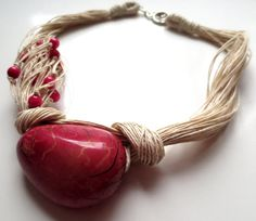 Dark Pink Tagua Nut Beads Organic Linen Necklace by ReTeTeer