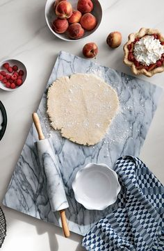 A substantial slab of white marble with unique grey veining is a sophisticated kitchen addition for the home baker.