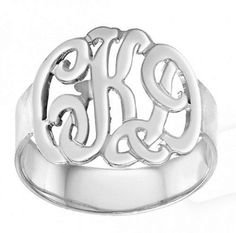 #ketisorelydesignsArtfire on Artfire                #ring                     #Designer #Monogram #Initials #Ring #(Order #Name) #Sterling #Silver          Designer Monogram Initials Ring (Order Any Name) Sterling Silver                                        http://www.seapai.com/product.aspx?PID=468718