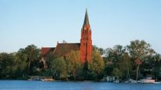 Blick von der Müritz zum Kirchturm in Röbel, Mecklenburgische Seenplatte Caravan, Kirchen, Building, Campsite, Construction, Architectural Engineering, Tower