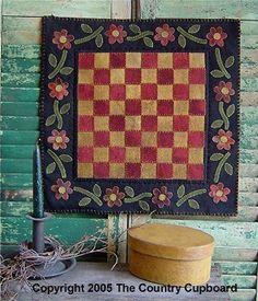 Primitive Folk Art Checkered Floral Wool