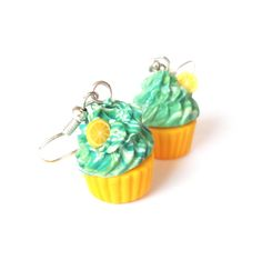 Cupcake Earrings Polymer Clay lemon cupcake by InspirationsByNell