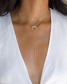 Gold Horn Necklace - Gold Crescent Necklace/ Double Horn Necklace/ Boho Horn Necklace/Gifts For Her/ Moon Necklace/ Tusk Necklace/ Celestial - Fine Jewelry Ideas Colar Fashion, Fashion Necklace, Fashion Jewelry, Trendy Jewelry, Jewelry Trends, Fashion Accessories, Moon Necklace, Lariat Necklace, Choker