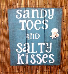 Reclaimed wood sign sandy toes and salty kisses, beach decor, beach sign, bathroom sign, home decor, rustic wood sign, hand painted by Reclaimed4aPurpose on Etsy
